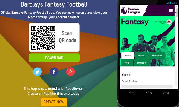 Fantasy Football Barclays App