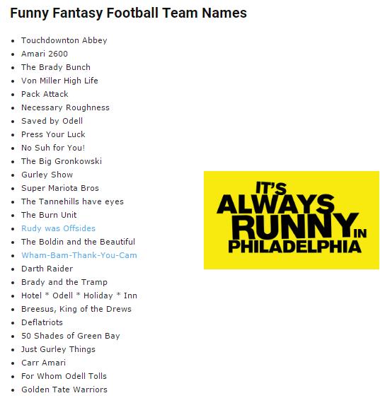 Fantasy Football Names