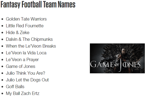 Funniest Fantasy Football Team Names Ever!