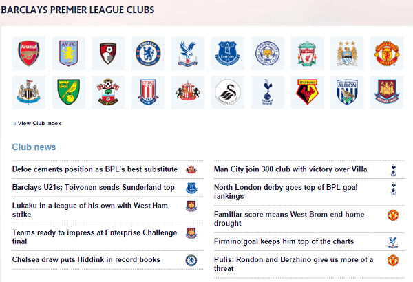 Barclays Premier League Clubs