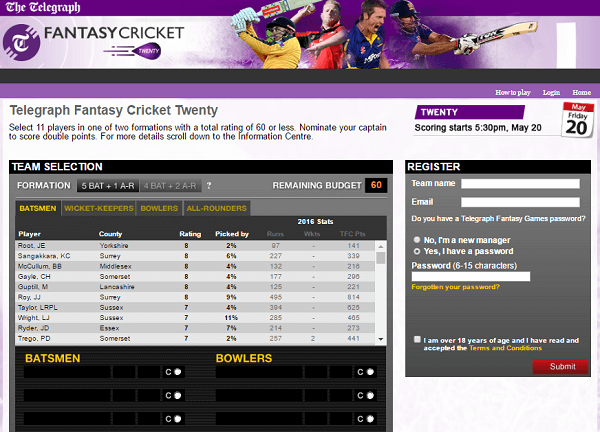 Telegraph Fantasy Cricket League