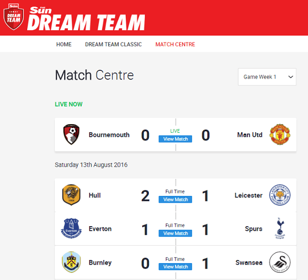 www DreamTeamFC com Match Centre